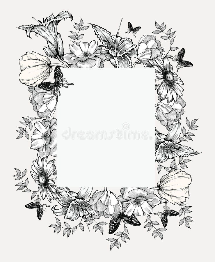 Illustration noire et blanche de vecteur Trame de cru avec des fleurs illustration stock