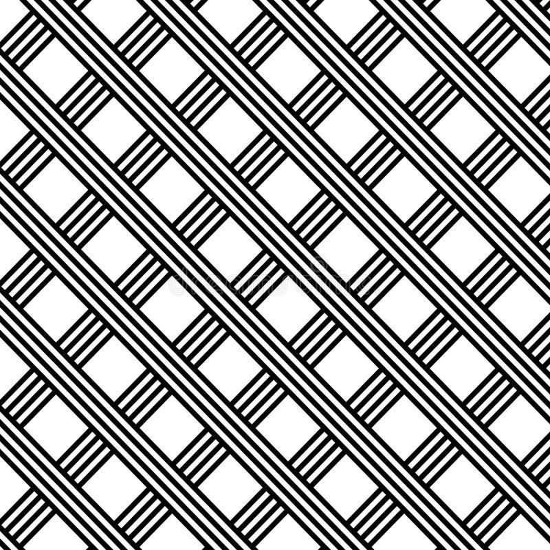 Illustration noire et blanche diagonale de grille de rayures photos libres de droits