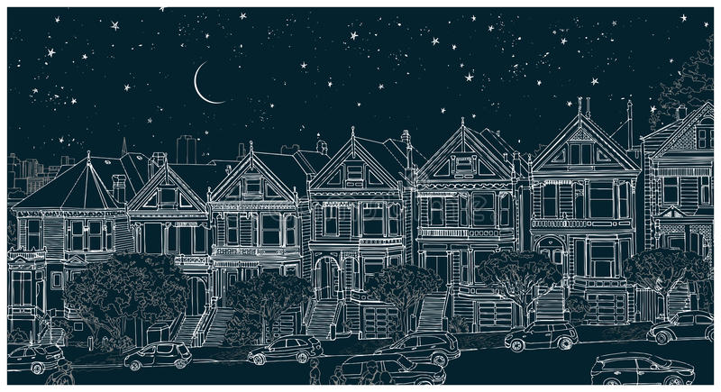 Illustration noire et blanche tirée par la main de la ville de San Francisco la nuit illustration de vecteur