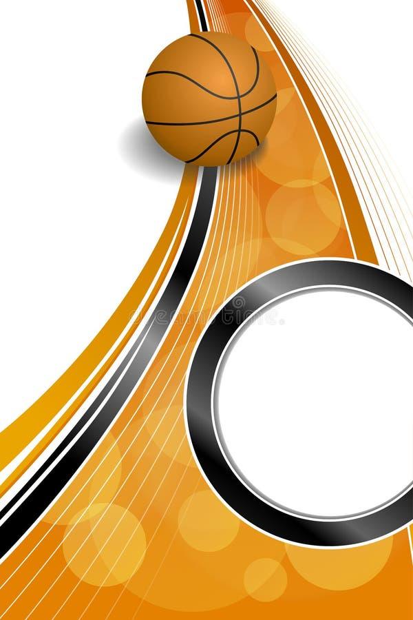 Illustration noire orange abstraite de verticale de cadre de cercle de boule de basket-ball de sport de fond illustration libre de droits