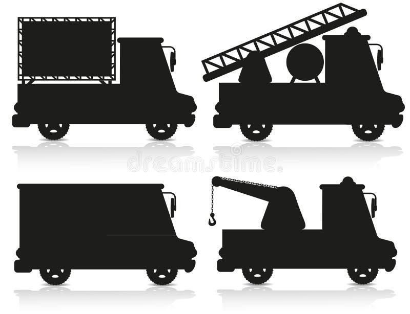 Illustration noire réglée de vecteur de silhouette de graphisme de véhicule illustration stock