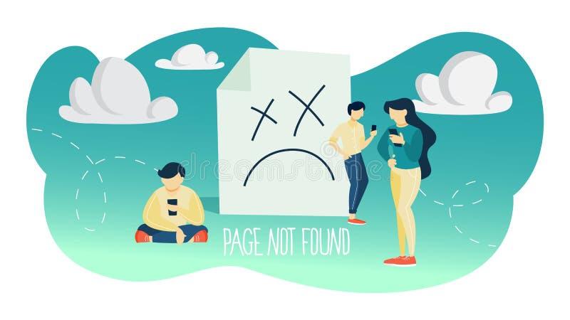 Illustration non trouvée de concept de page d'oh là là ! 404 erreurs illustration stock