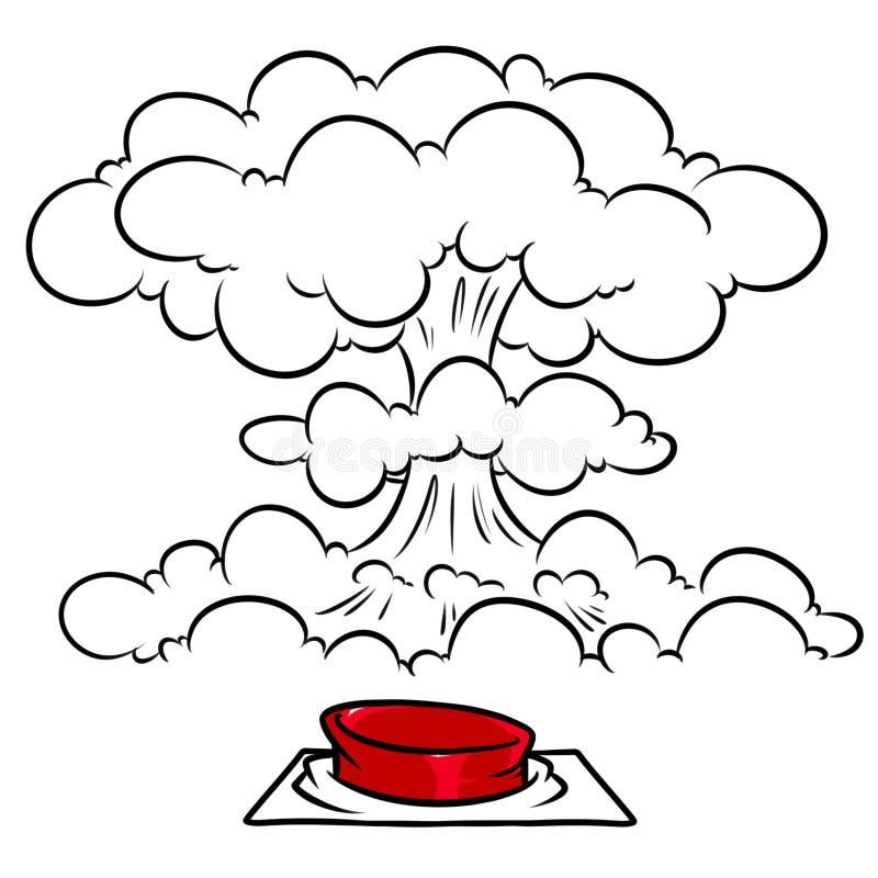 Illustration nucléaire de bande dessinée d'explosion de champignon de bouton rouge illustration libre de droits