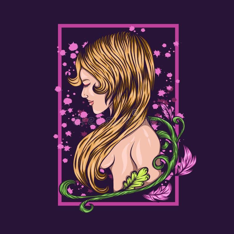Illustration nue de vecteur de fleur de fille illustration libre de droits