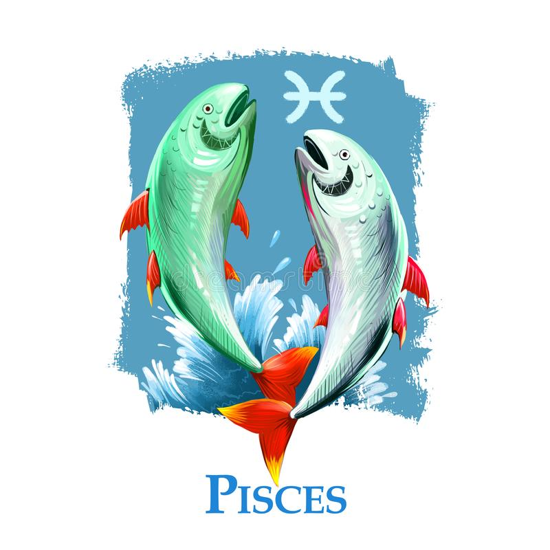 Illustration numérique créative de signe astrologique Poissons Le douzième de douze signe dedans le zodiaque Élément de l'eau d'h illustration stock