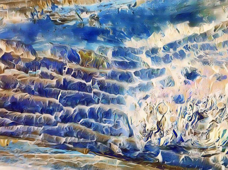 Illustration numérique d'arbre de texture naturelle d'écorce Écorce d'arbre bleue blanche Extérieur superficiel par les agents du image stock