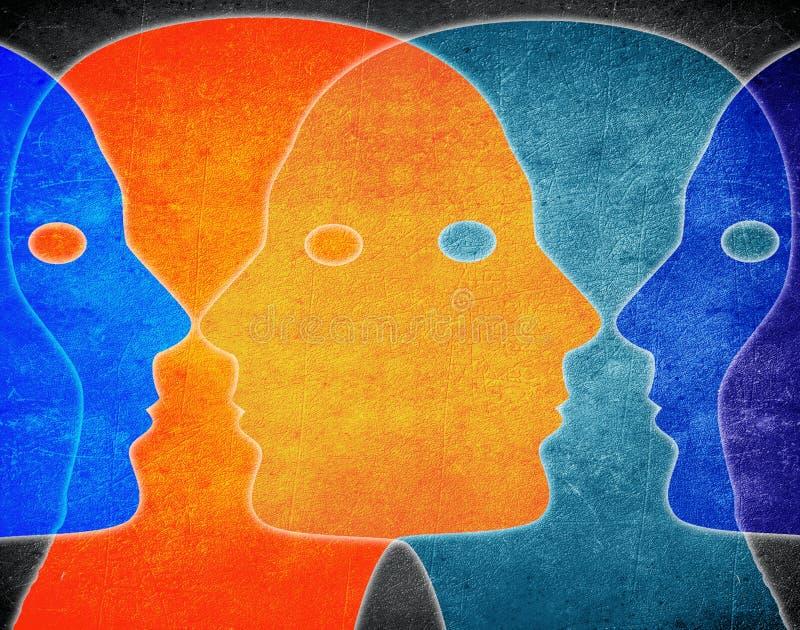 illustration numérique de couleurs de têtes illustration stock