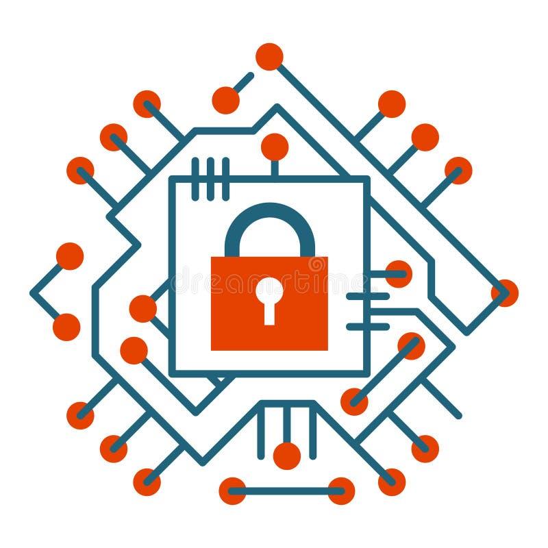 Illustration numérique de vecteur d'icône de protection de cyber d'Internet de technique de protection de Web illustration stock