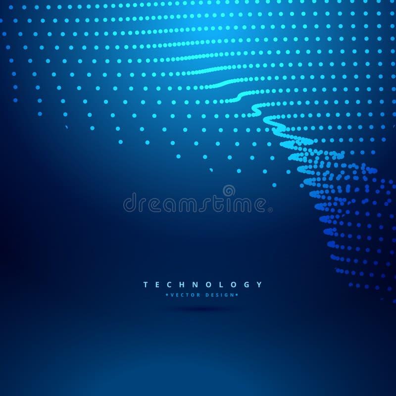 Illustration numérique futuriste de conception de vecteur de vague de point de maille illustration stock