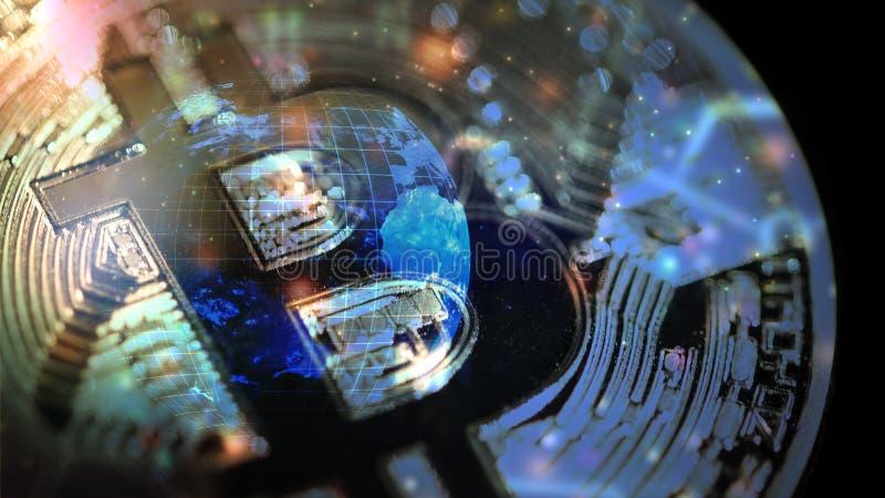 Illustration numérique mondiale d'abrégé sur devise de Bitcoin photos stock