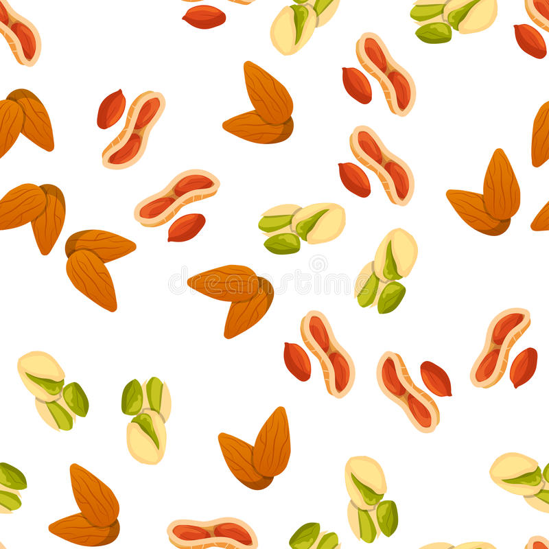 Illustration of nuts. Very high quality original trendy vector seamless pattern with almonds and brazil nut stock illustration