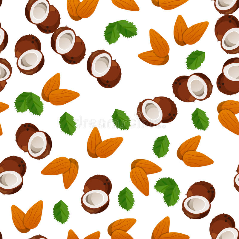 Illustration of nuts. Very high quality original trendy vector seamless pattern with almonds and coconut vector illustration