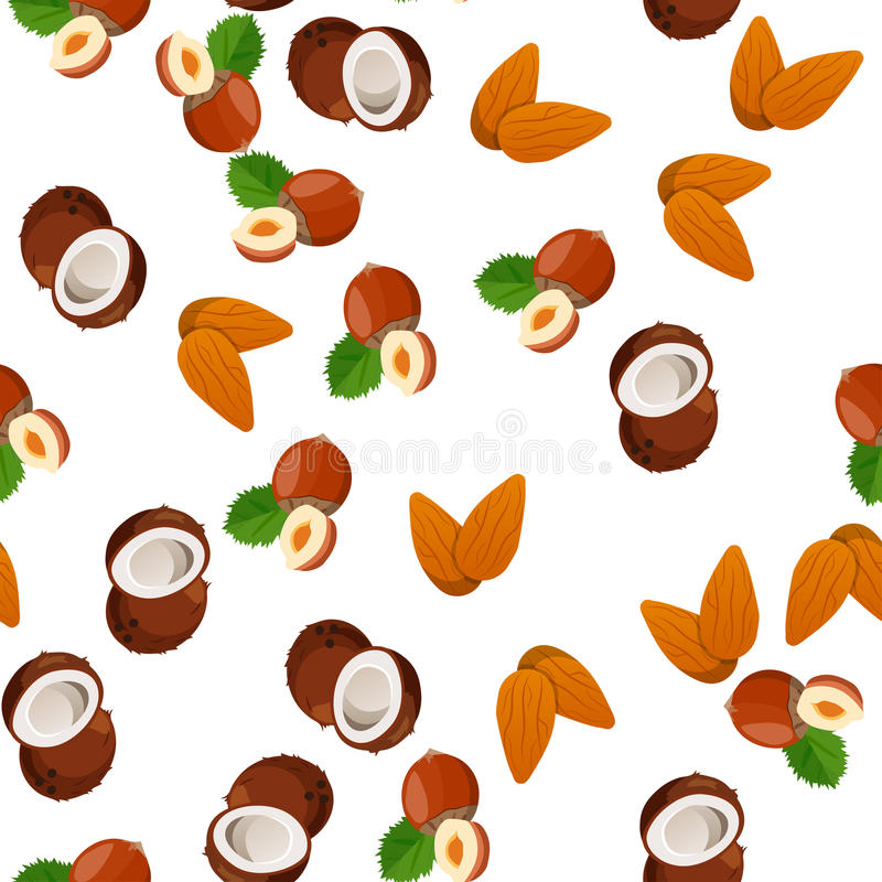Illustration of nuts. Very high quality original trendy vector seamless pattern with almonds , coconut and hazelnut stock illustration