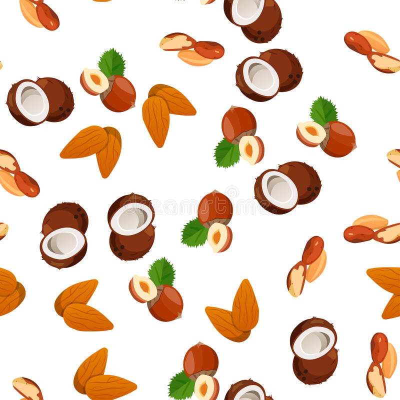 Illustration of nuts. Very high quality original trendy vector seamless pattern with almonds, coconut and hazelnut stock illustration