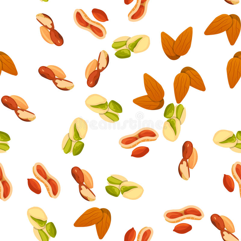 Illustration of nuts. Very high quality original trendy vector seamless pattern with almonds, peanut and brazil nut royalty free illustration