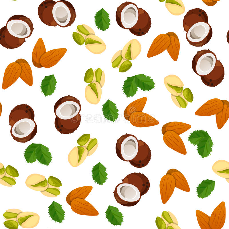 Illustration of nuts. Very high quality original trendy vector seamless pattern with almonds, pistachio and coconut vector illustration