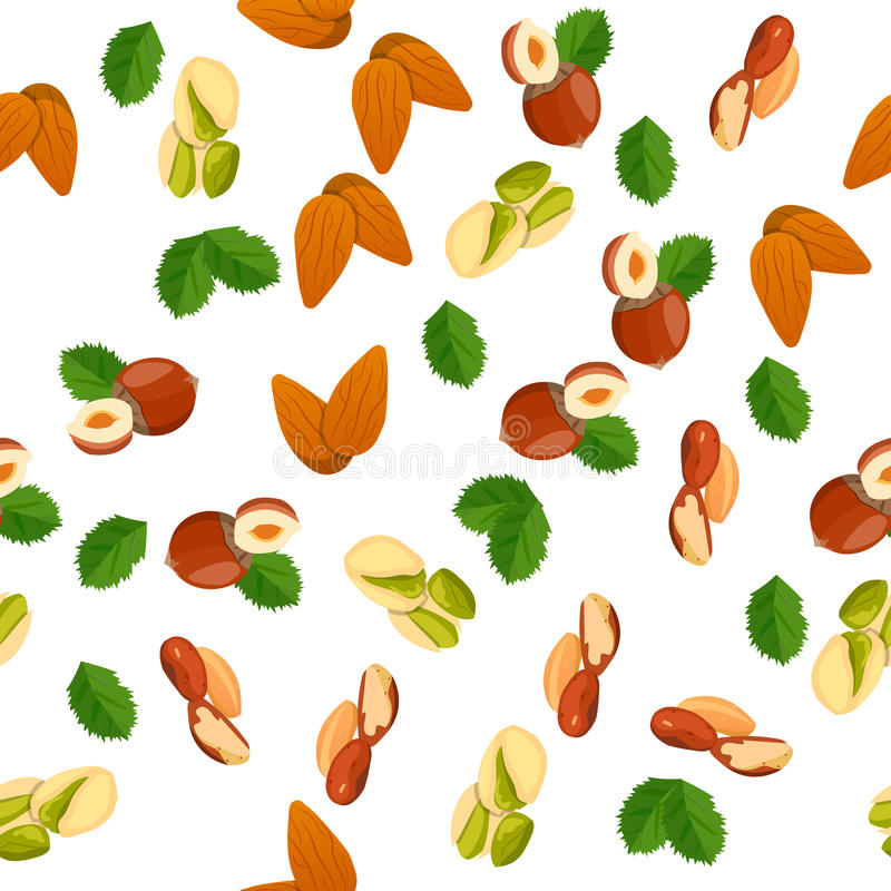 Illustration of nuts. Very high quality original trendy vector seamless pattern with almonds, pistachio and coconut royalty free illustration