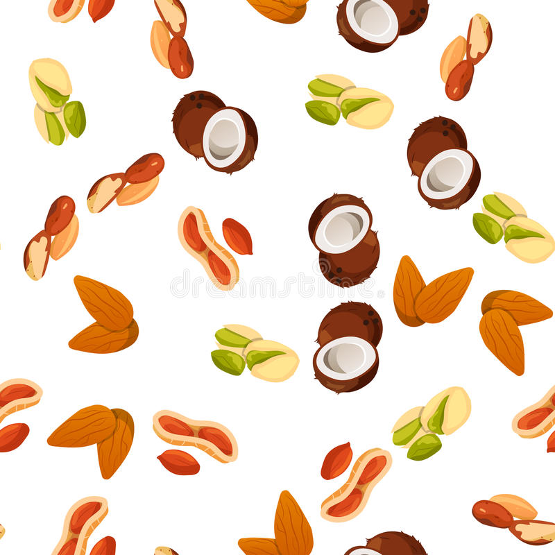 Illustration of nuts. Very high quality original trendy vector seamless pattern with almonds, pistachio and coconut stock illustration