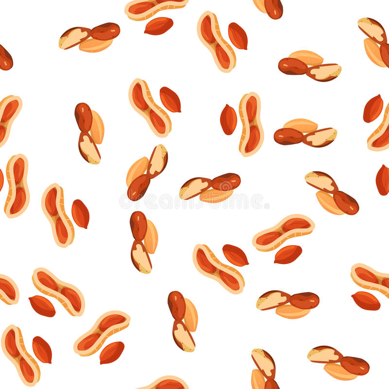 Illustration of nuts. Very high quality original trendy vector seamless pattern with peanut and brazil nut stock illustration