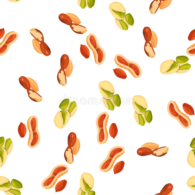 Illustration of nuts. Very high quality original trendy vector seamless pattern with pistachio, brazil nut and peanut vector illustration