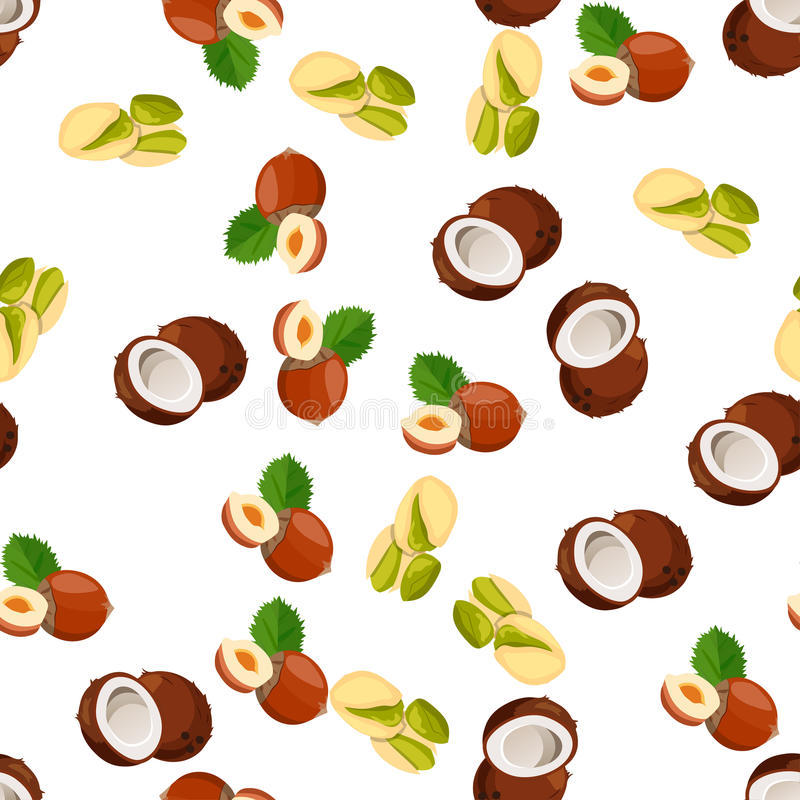 Illustration of nuts. Very high quality original trendy vector seamless pattern with pistachio, coconut and hazelnut vector illustration