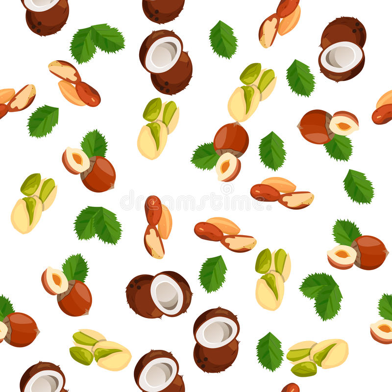 Illustration of nuts. Very high quality original trendy vector seamless pattern with pistachio, coconut and hazelnut stock illustration