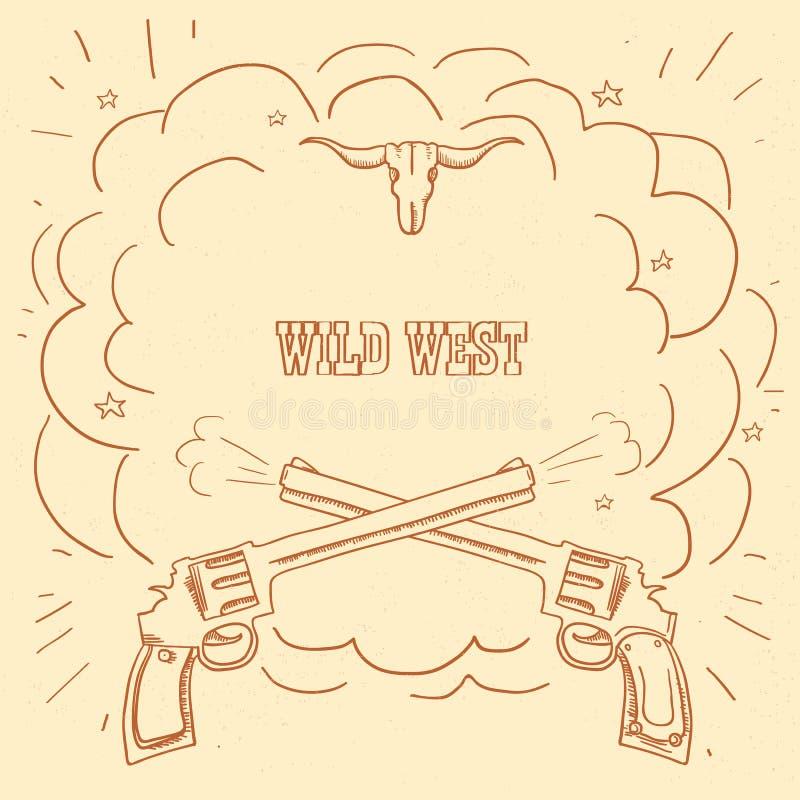 Illustration occidentale sauvage avec des armes à feu de cowboy et espace éclaté pour le texte occidental sur le vieux fond illustration stock