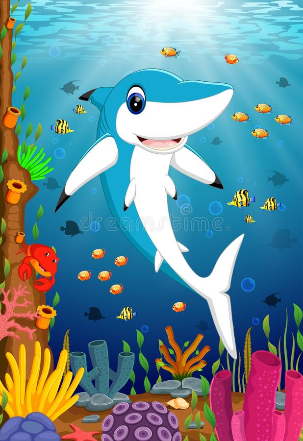 The ocean view with the big dashing blue shark posing. Illustration of the ocean view with the big dashing blue shark posing vector illustration