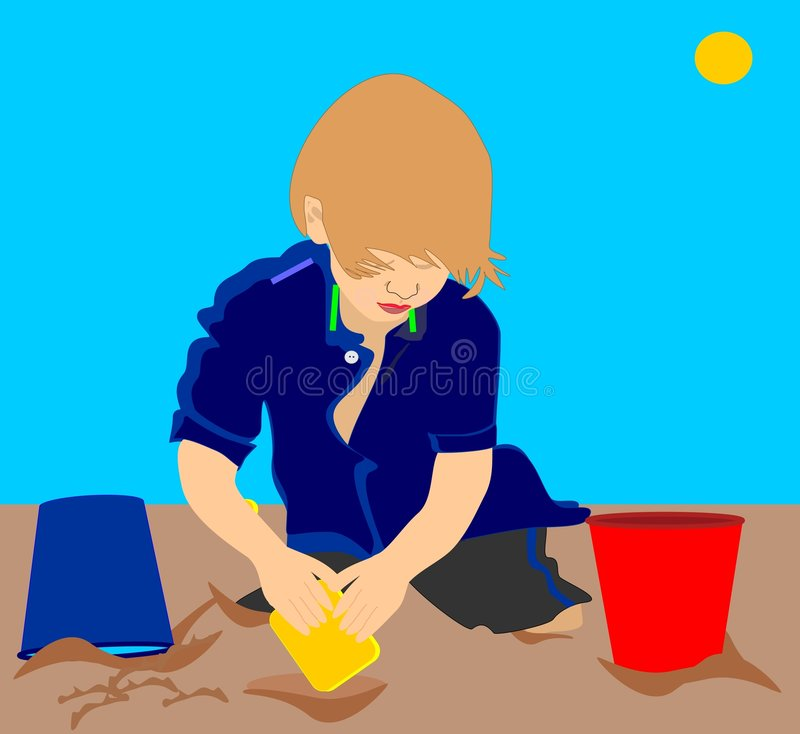 Free Illustration Of A Child In Sand Royalty Free Stock Images - 7785459