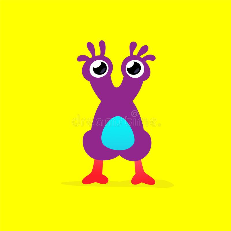 Free Illustration Of A Cute, Lovely Monster Character. Vector. Mascot For The Company. Abstract Creature. Character Is Isolated On A Ye Stock Photo - 190417750