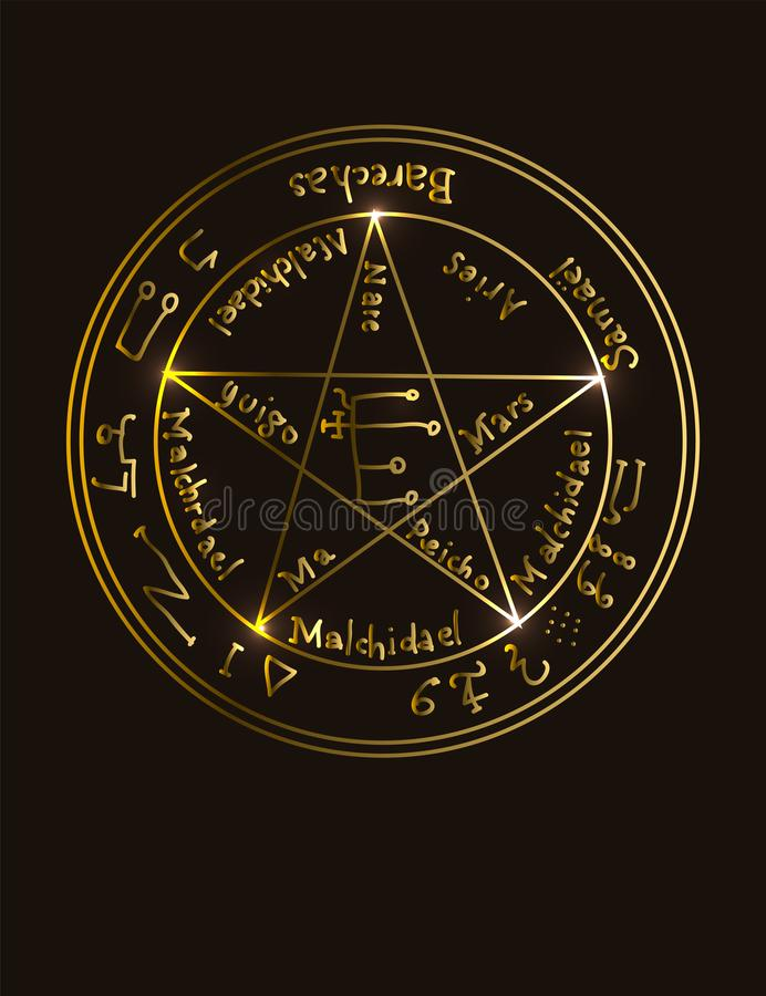 Free Illustration Of A Golden Occult Symbol With Magical Inscriptions And Signs On A Black Background. Vector Banner In Retro Style. Royalty Free Stock Photo - 141614065
