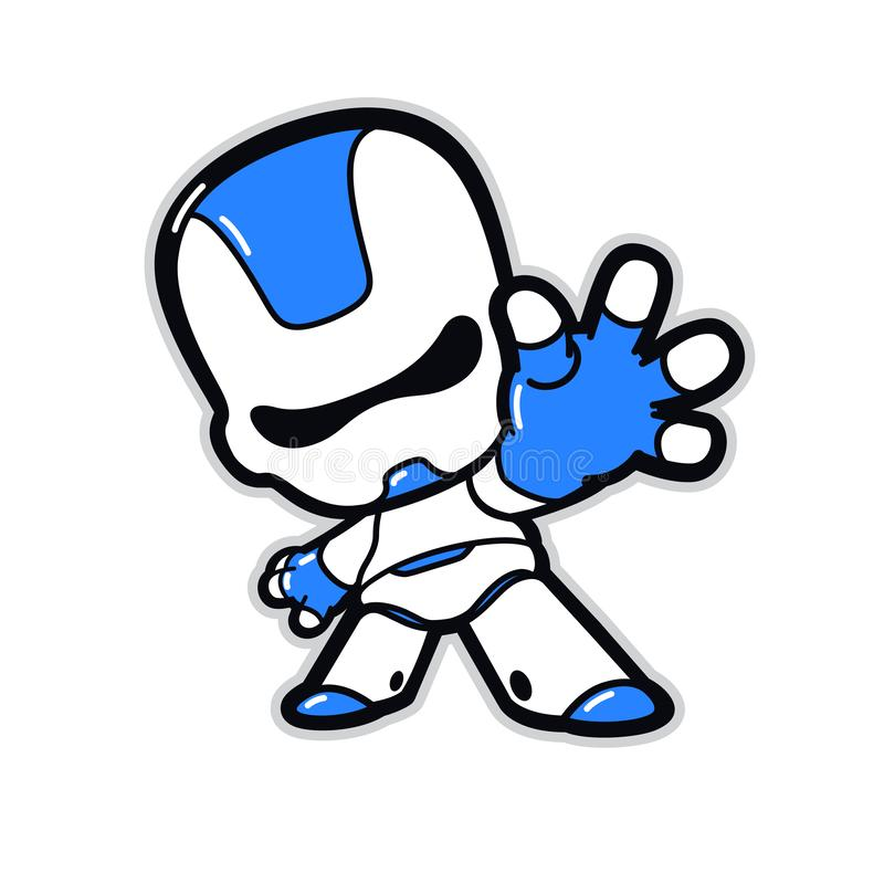 Free Illustration Of A Robot Character With A Raised Hand. Vector. Android Cute Plastic. Kawaii Ironic Style. Mascot For Corporate Iden Royalty Free Stock Photo - 163665215