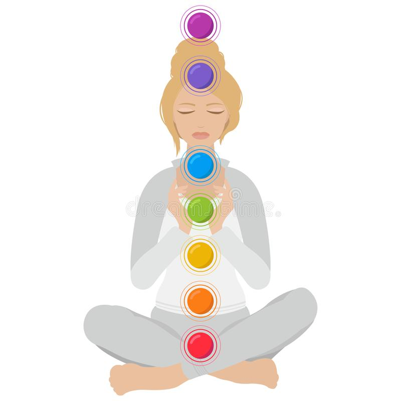 Free Illustration Of A Woman Sitting In Yoga Lotus Pose With Colorful Chakras Stock Photography - 121332952