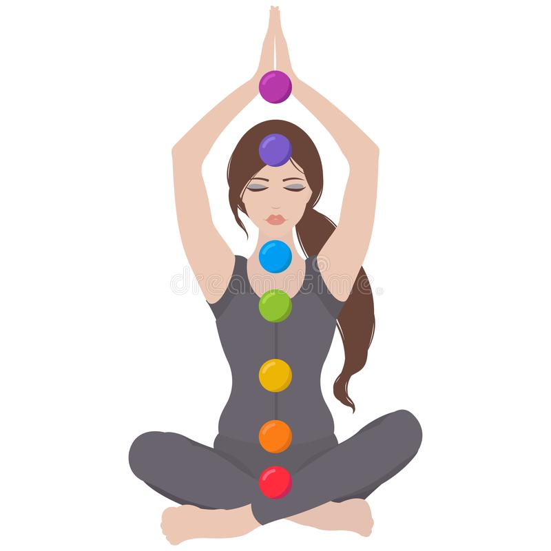 Free Illustration Of A Woman Sitting In Yoga Lotus Pose With Colorful Chakras Royalty Free Stock Photo - 121332975
