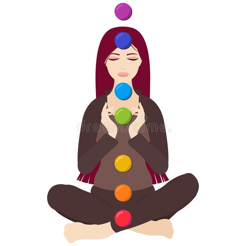 Free Illustration Of A Woman Sitting In Yoga Lotus Pose With Colorful Chakras Royalty Free Stock Photos - 121332978