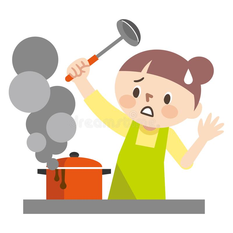 Free Illustration Of A Young Woman Who Failed To Cook Royalty Free Stock Photos - 190008328