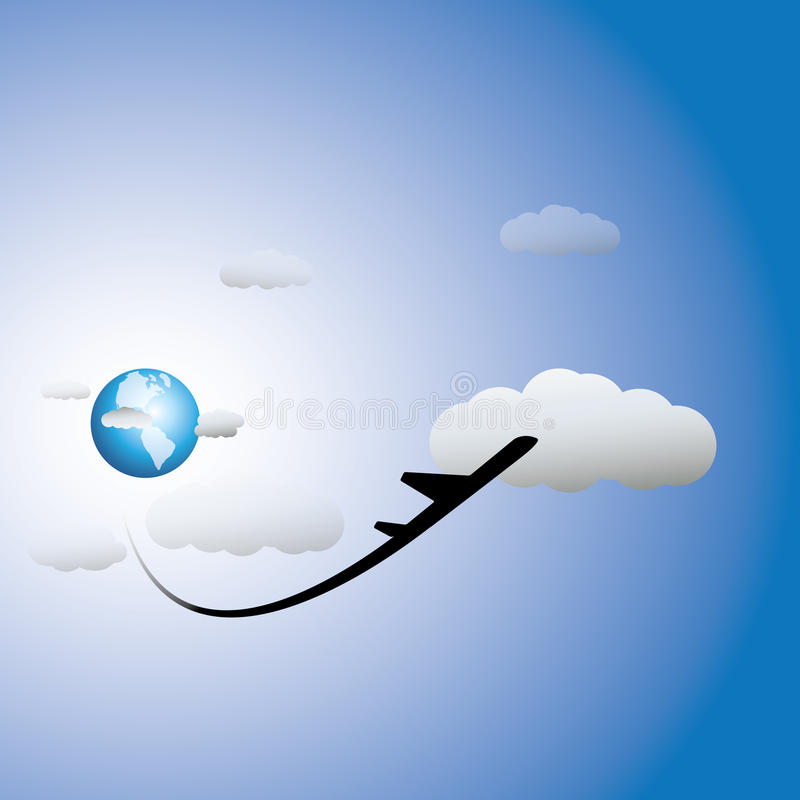 Free Illustration Of Airplane, Sky With Clouds & World Royalty Free Stock Photo - 29897125