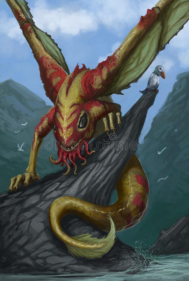 Free Illustration Of Amphibious Water Dragon Standing On A Rock Above The Water - Digital Fantasy Painting  Royalty Free Stock Images - 159360669