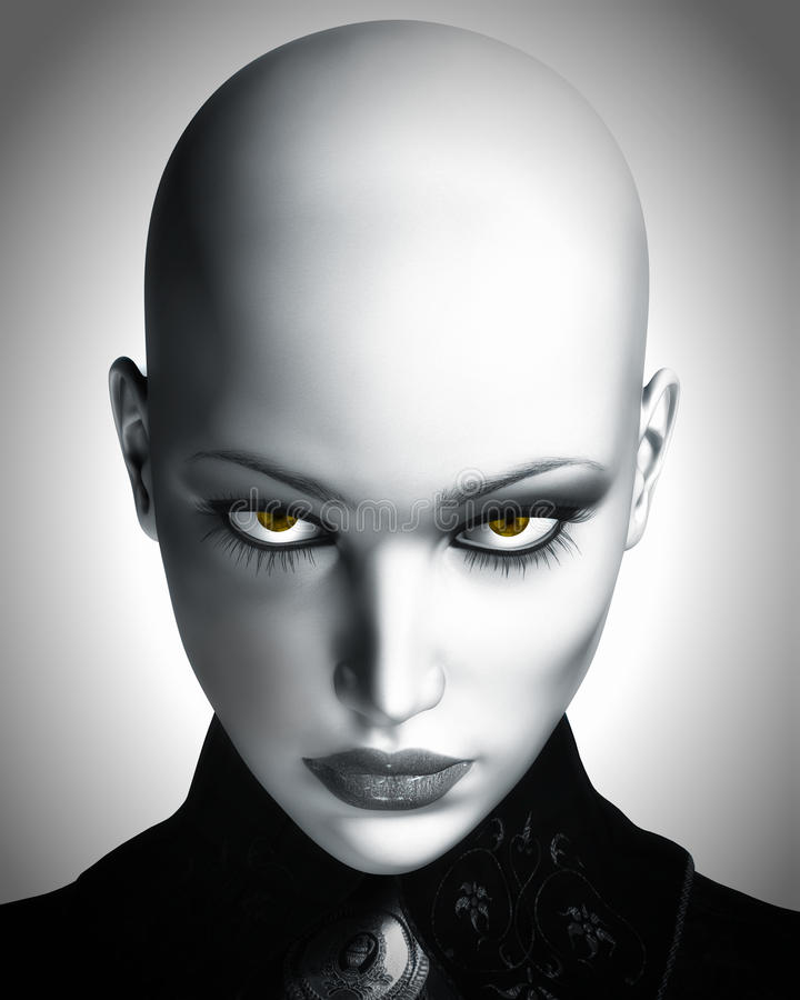 Free Illustration Of Beautiful Bald Futuristic Woman Royalty Free Stock Photography - 26192737