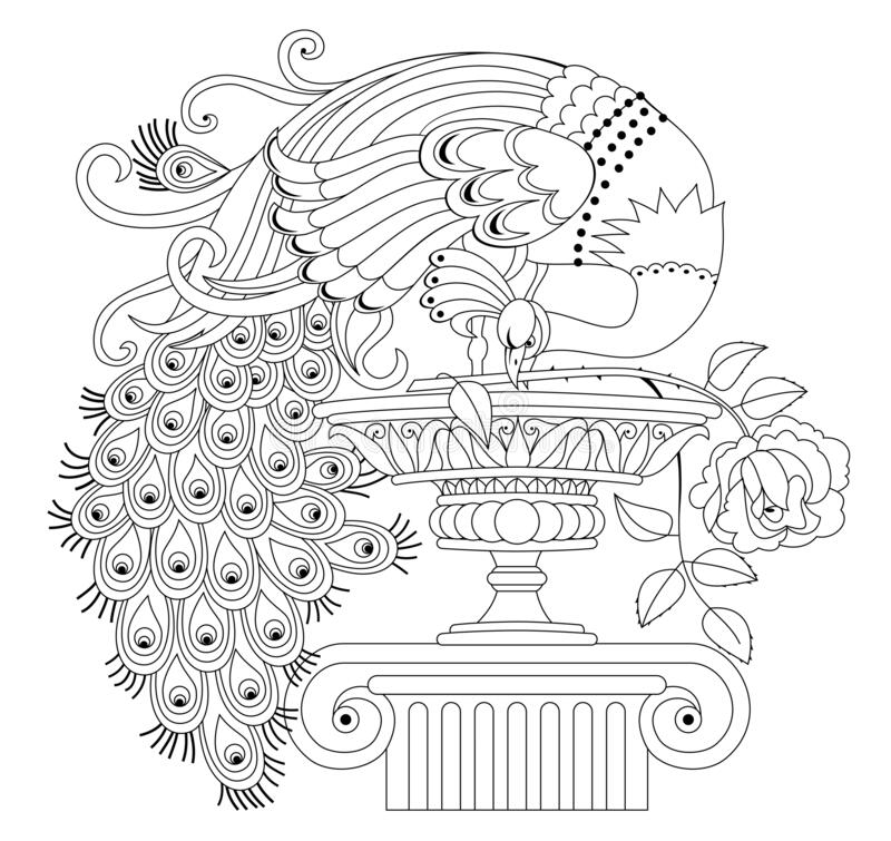 Free Illustration Of Beautiful Peacock With Rose And Antique Vase. Black And White Page For Kids Coloring Book. Royalty Free Stock Photos - 169331998