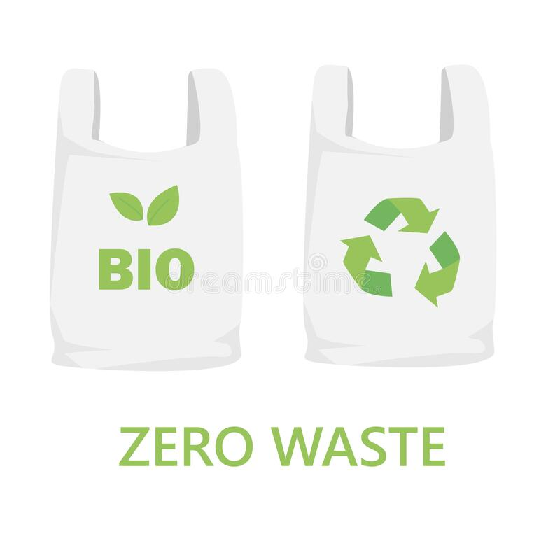 Free Illustration Of Biodegradable Bags With Recyclable Symbol Isolated On White Background. Recycled Raw Materials. Zero Waste. Royalty Free Stock Photos - 214235778