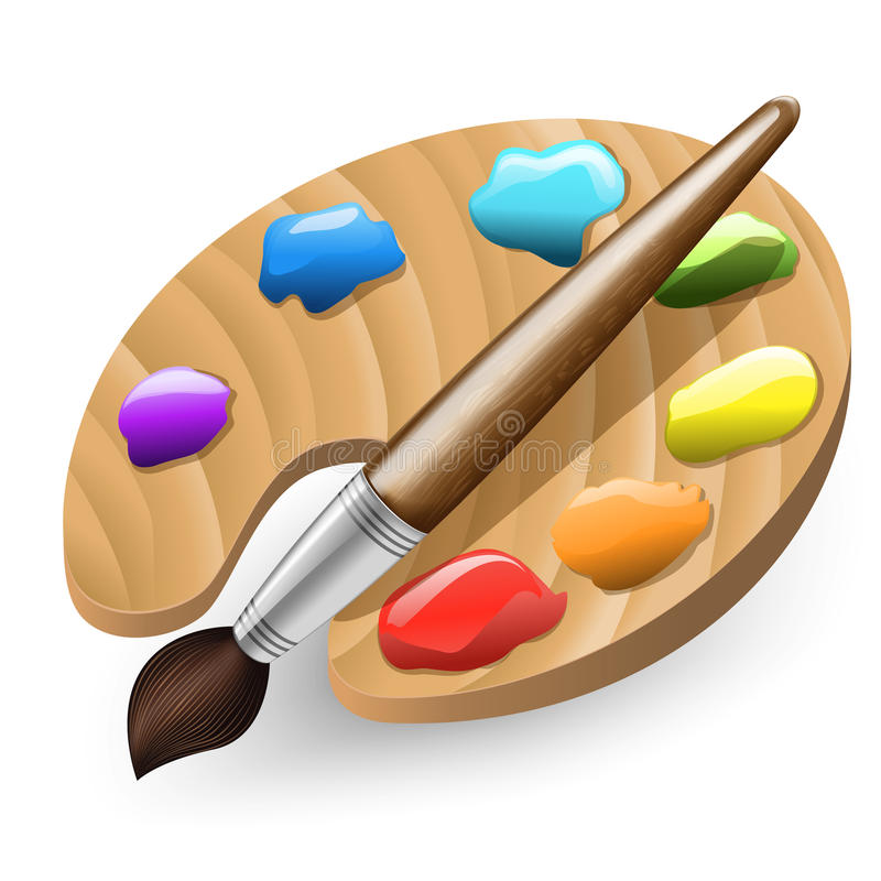 Free Illustration Of Color Brush And Pallet Stock Images - 76452654