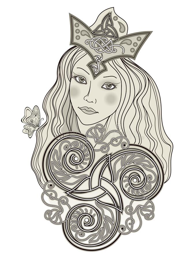 Free Illustration Of Fabulous Viking Fairy. Abstract Portrait Of Beautiful Girl Ornate By Trickle Symbol. Print For Decoration, Logo, Stock Images - 191604934