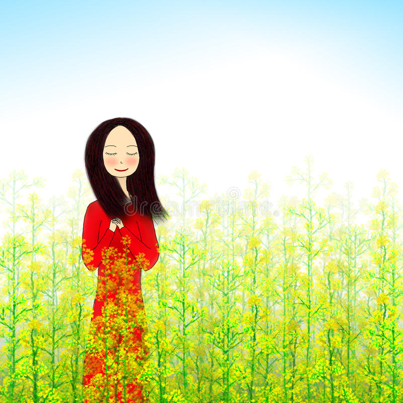 Free Illustration Of Girl Standing In Flower Field Stock Photos - 51476433
