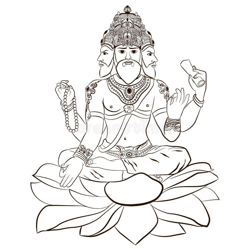 Free Illustration Of Hindu God Brahma Stock Image - 113152231