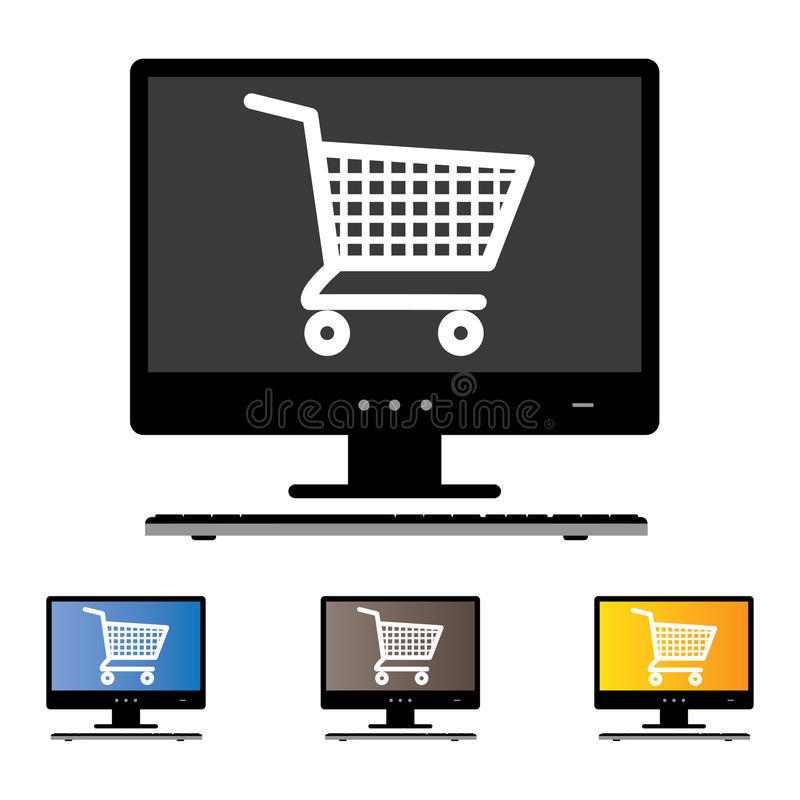 Free Illustration Of Online Shopping Using Desktop/PC/Computer Stock Images - 28841774