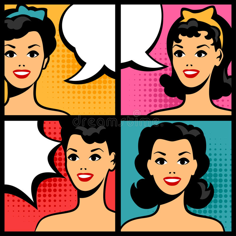 Free Illustration Of Retro Girls In Pop Art Style Stock Photography - 51186492