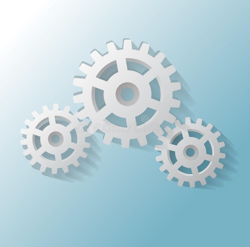 Free Illustration Of Three Gears On Blue Background Stock Image - 38266991