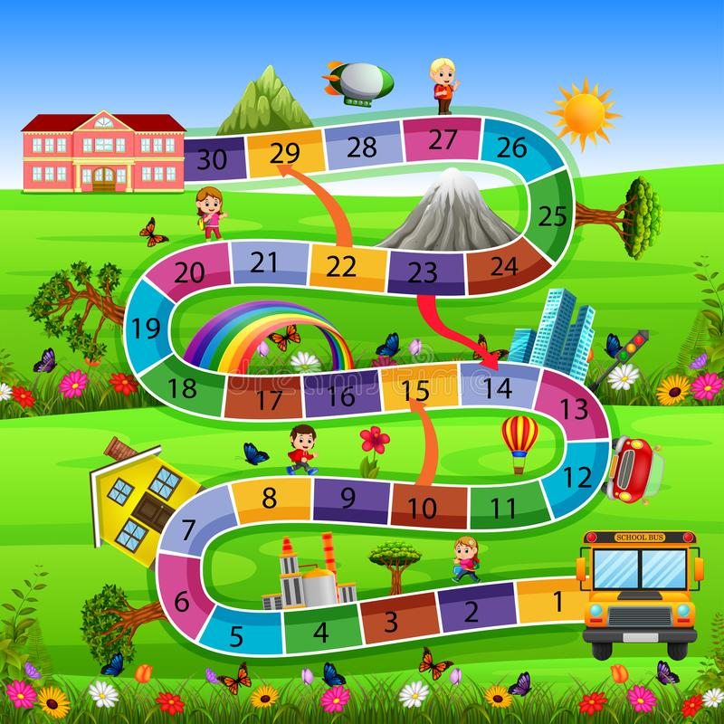 Board game with back to school background stock illustration