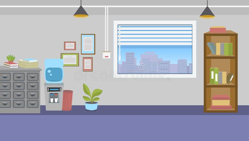 Office interior with furniture and big window royalty free illustration